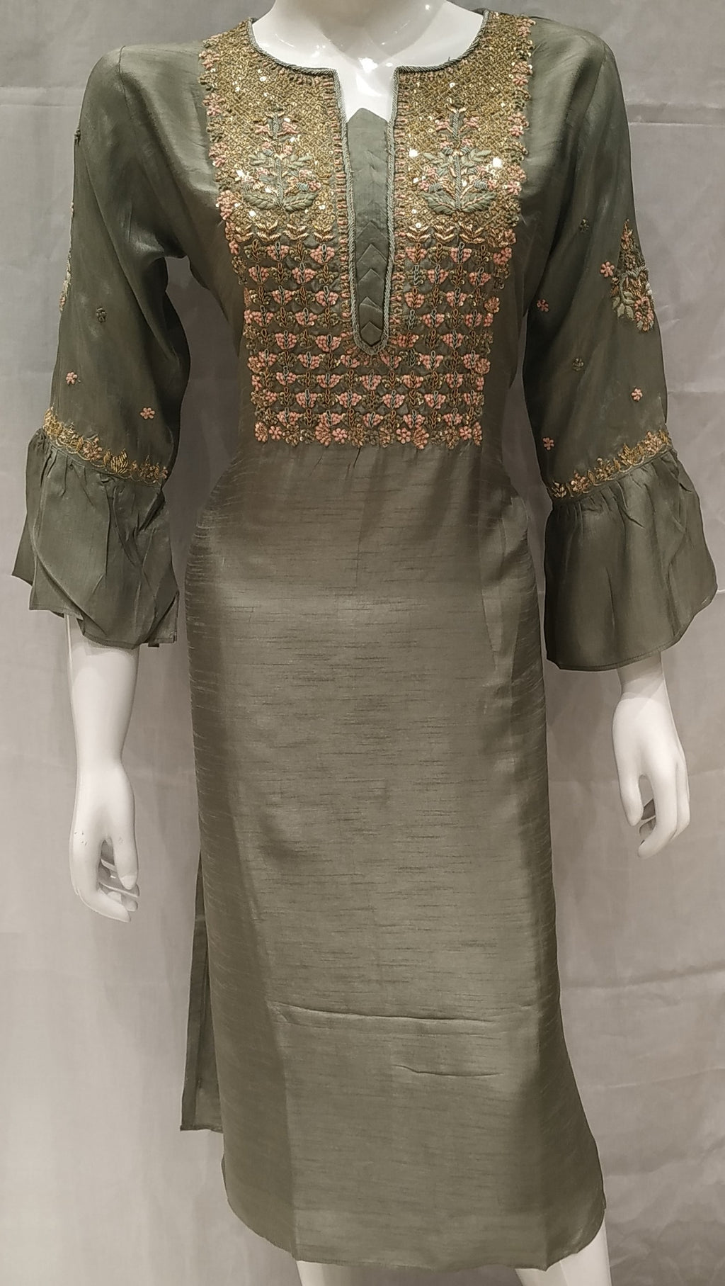 Metallic Green Color Raw Silk Designer Party Wear Kurtis NYF-6571