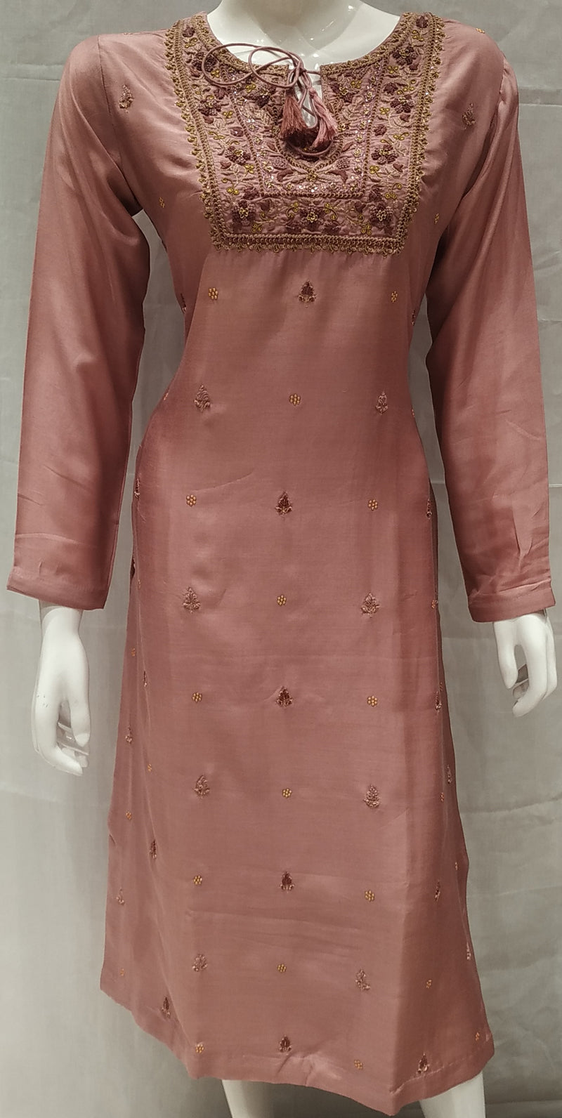 Pink Color Pure Muslin Designer Party Wear Kurtis NYF-6573