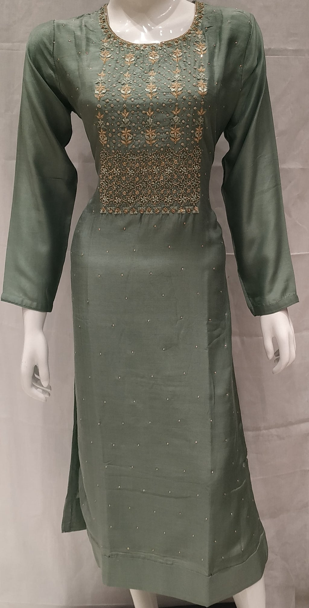 Green Color Pure Muslin Designer Party Wear Kurtis NYF-6575