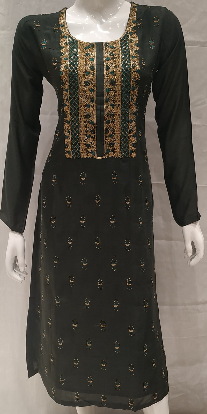 Green Color Pure Muslin Designer Party Wear Kurtis NYF-6577