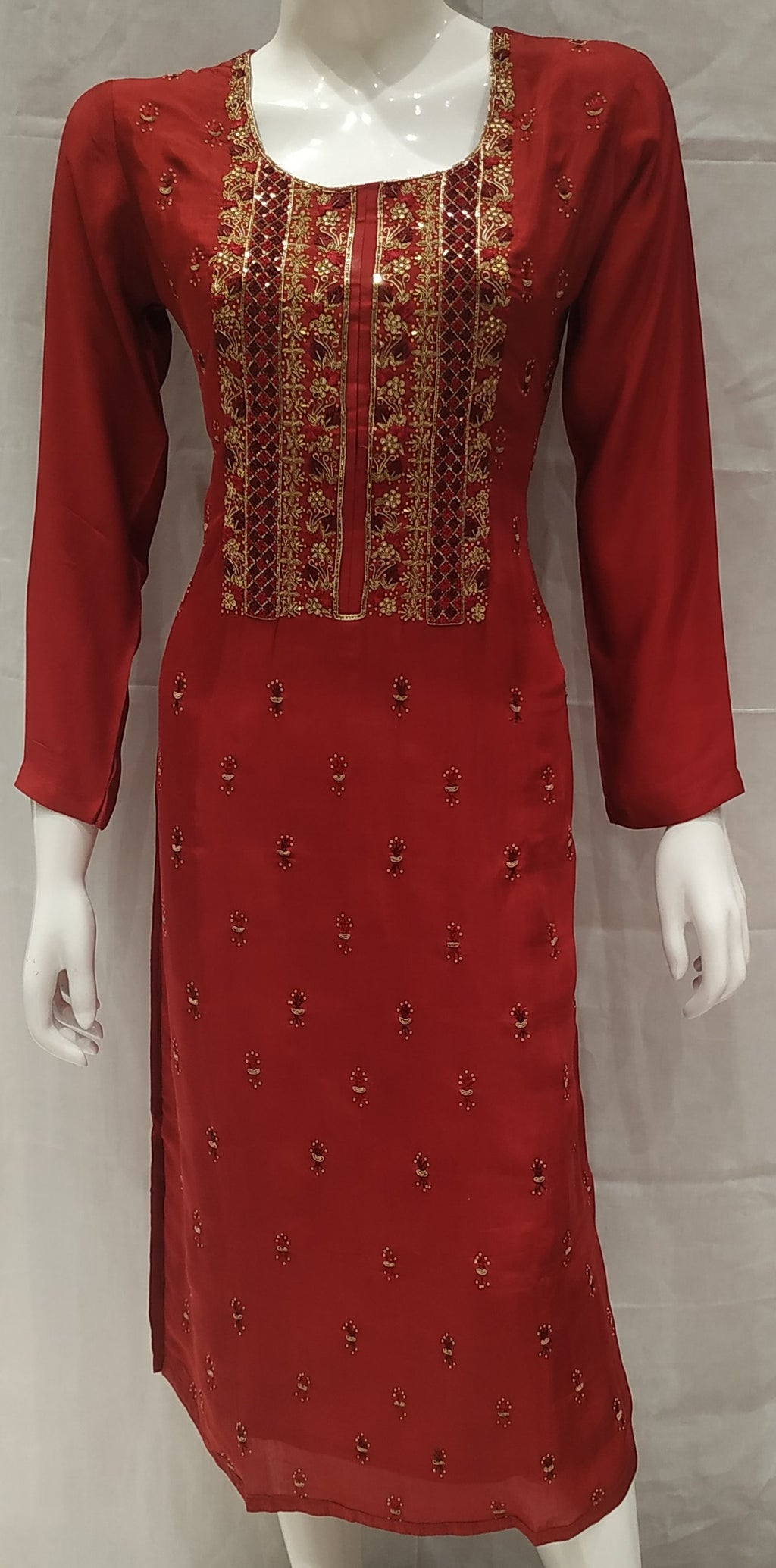 Maroon Color Pure Muslin Designer Party Wear Kurtis NYF-6579