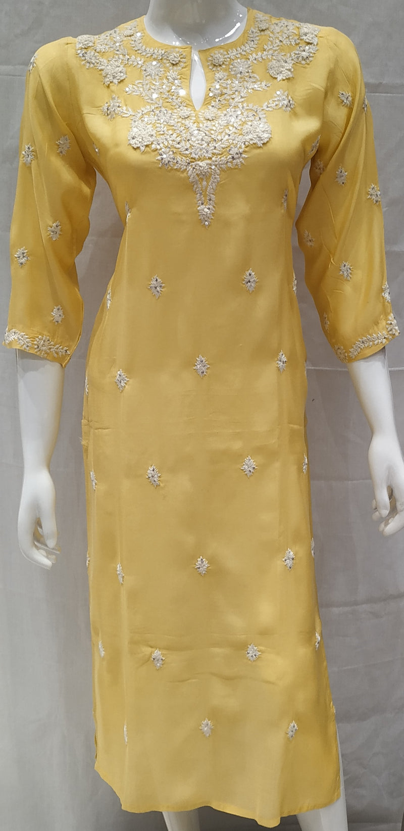 Yellow Color Pure Muslin Designer Party Wear Kurtis NYF-6586