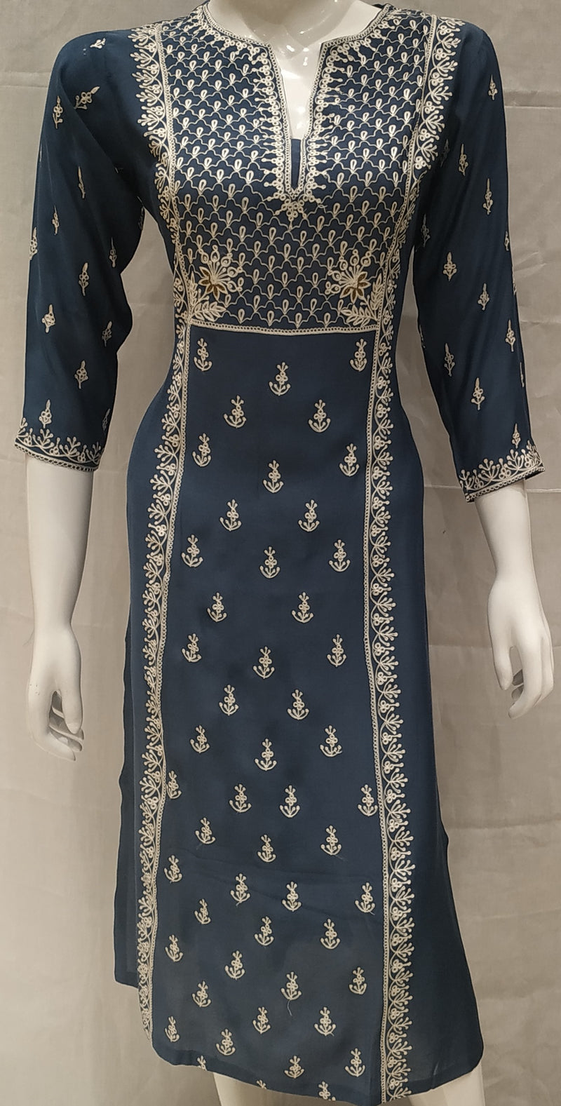Blue Color Pure Muslin Designer Party Wear Kurtis NYF-6587