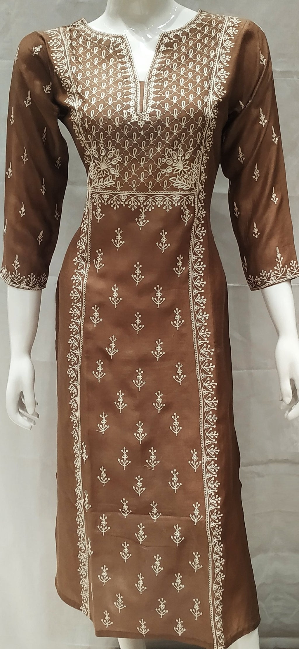 Brown Color Pure Muslin Designer Party Wear Kurtis NYF-6590