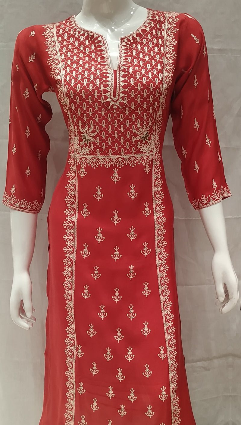 Red Color Pure Muslin Designer Party Wear Kurtis NYF-6592
