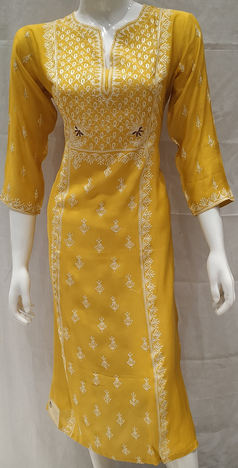 Yellow Color Pure Muslin Designer Party Wear Kurtis NYF-6595