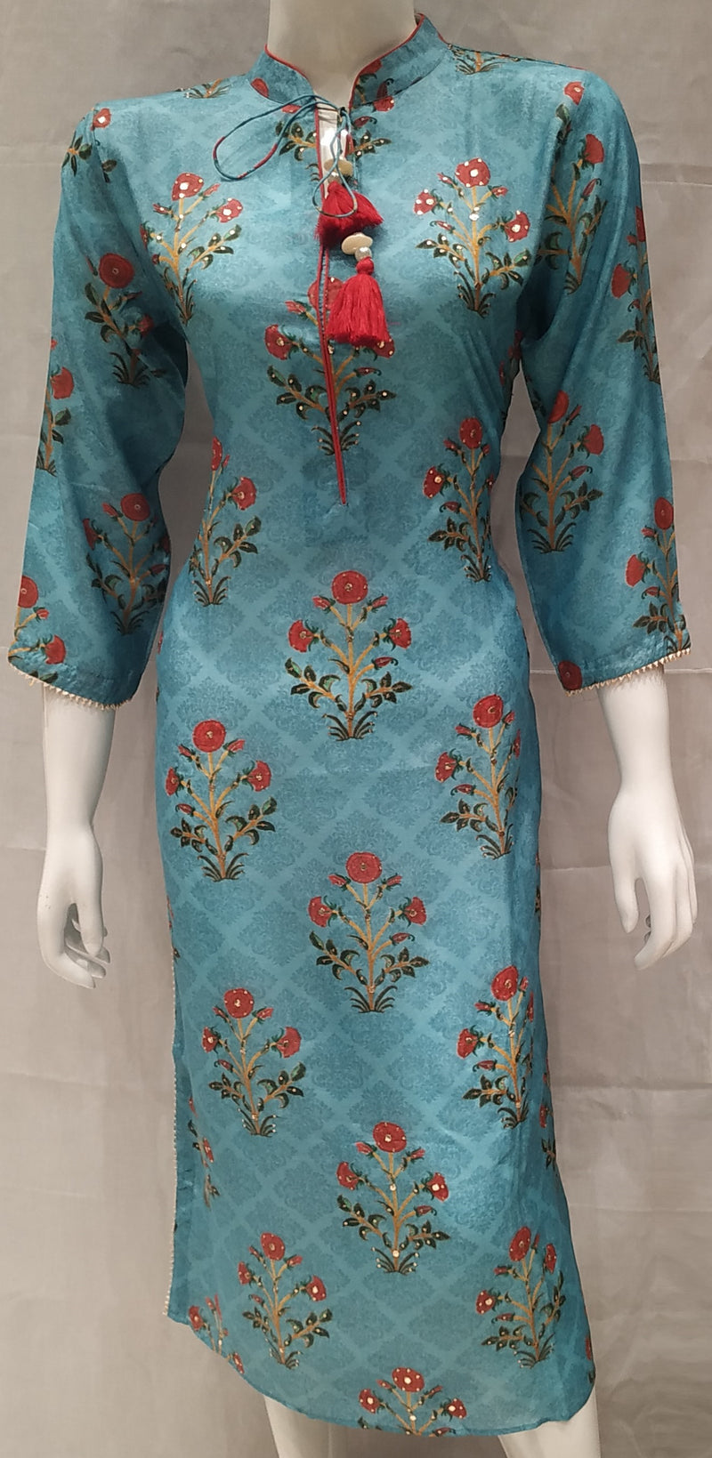 Blue Color Pure Muslin Designer Party Wear Kurtis NYF-6600