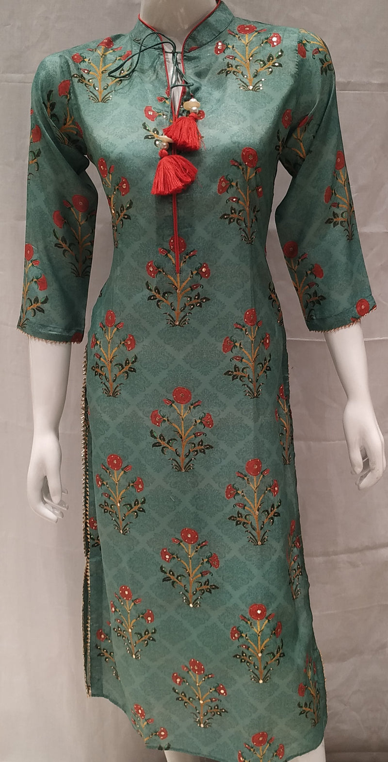Green Color Pure Muslin Designer Party Wear Kurtis NYF-6604