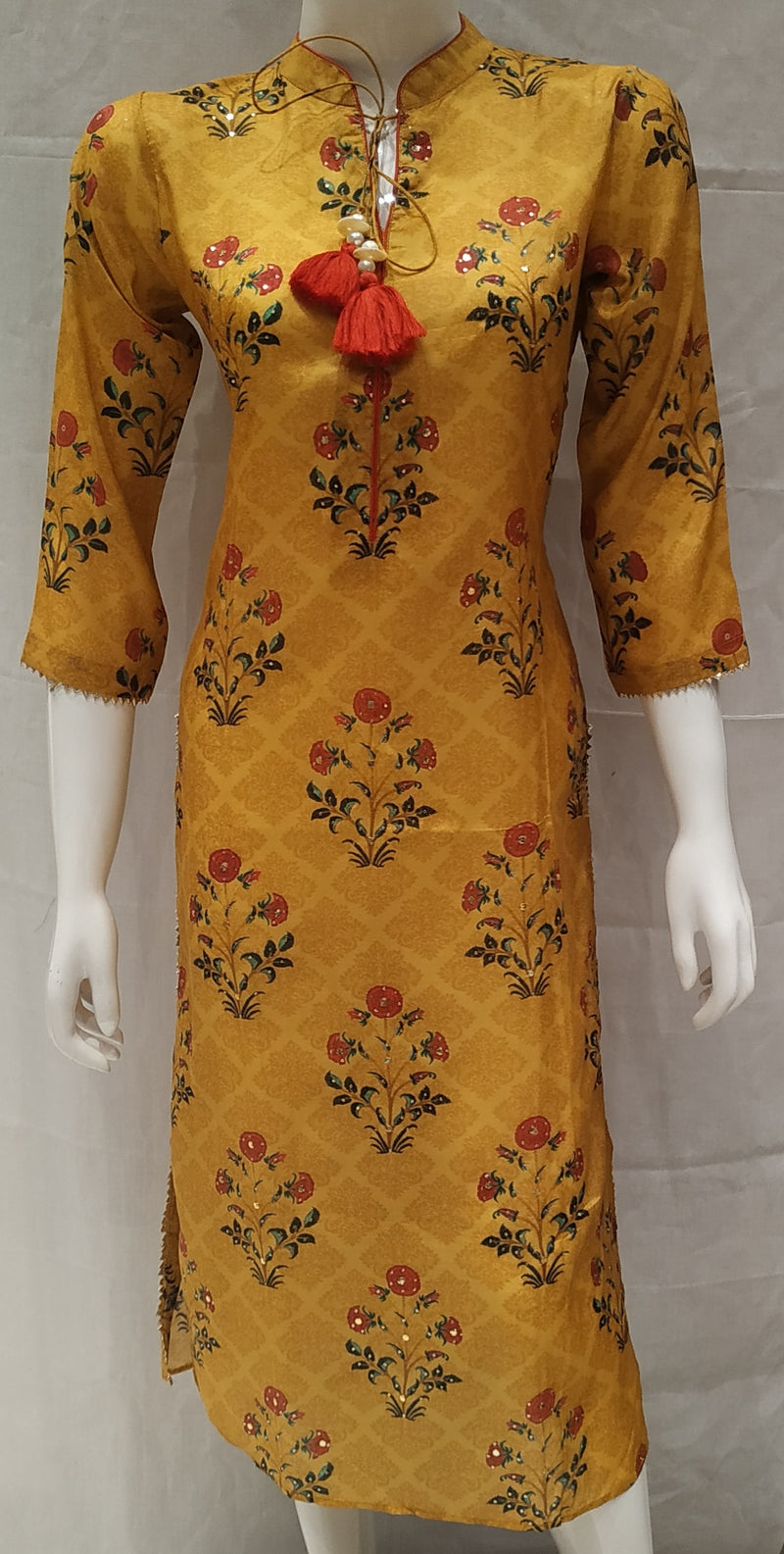 Yellow Color Pure Muslin Designer Party Wear Kurtis NYF-6608