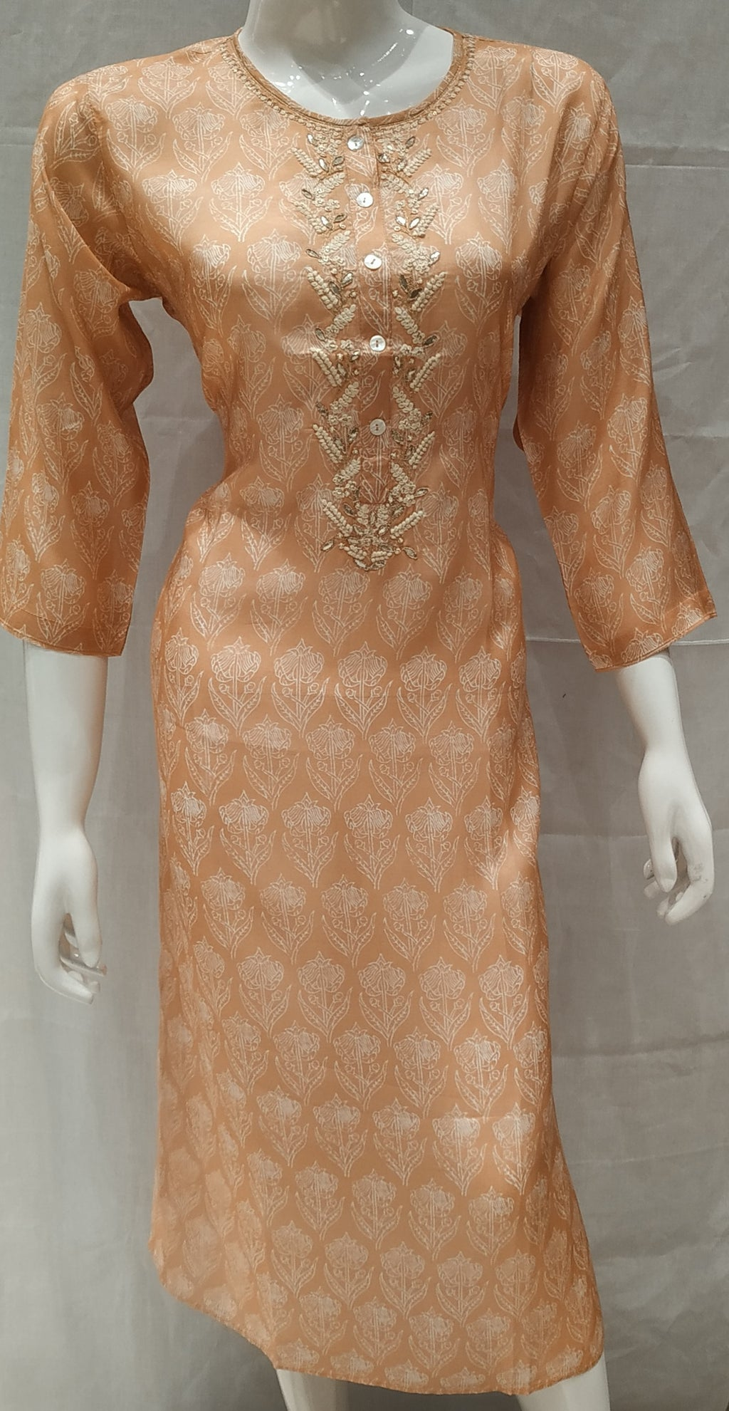 Peach Color Pure Muslin Designer Party Wear Kurtis NYF-6617
