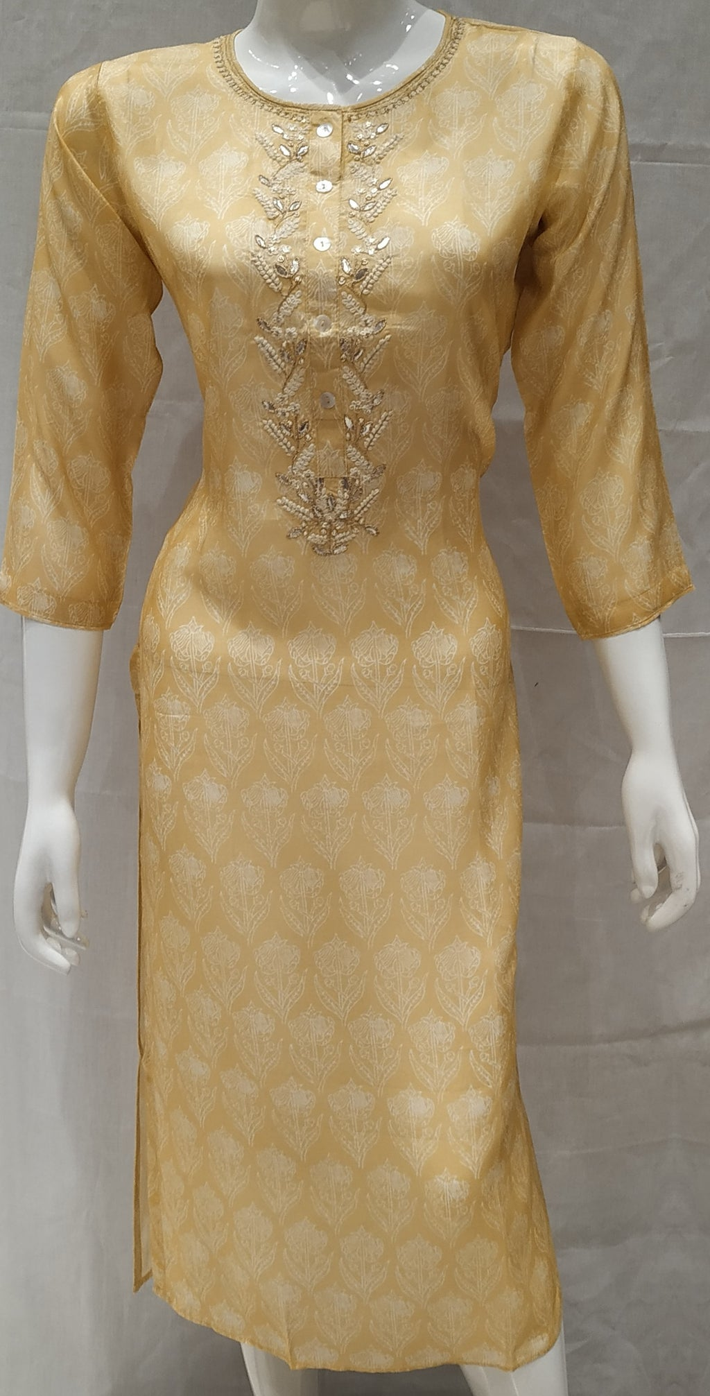 Yellow Color Pure Muslin Designer Party Wear Kurtis NYF-6621