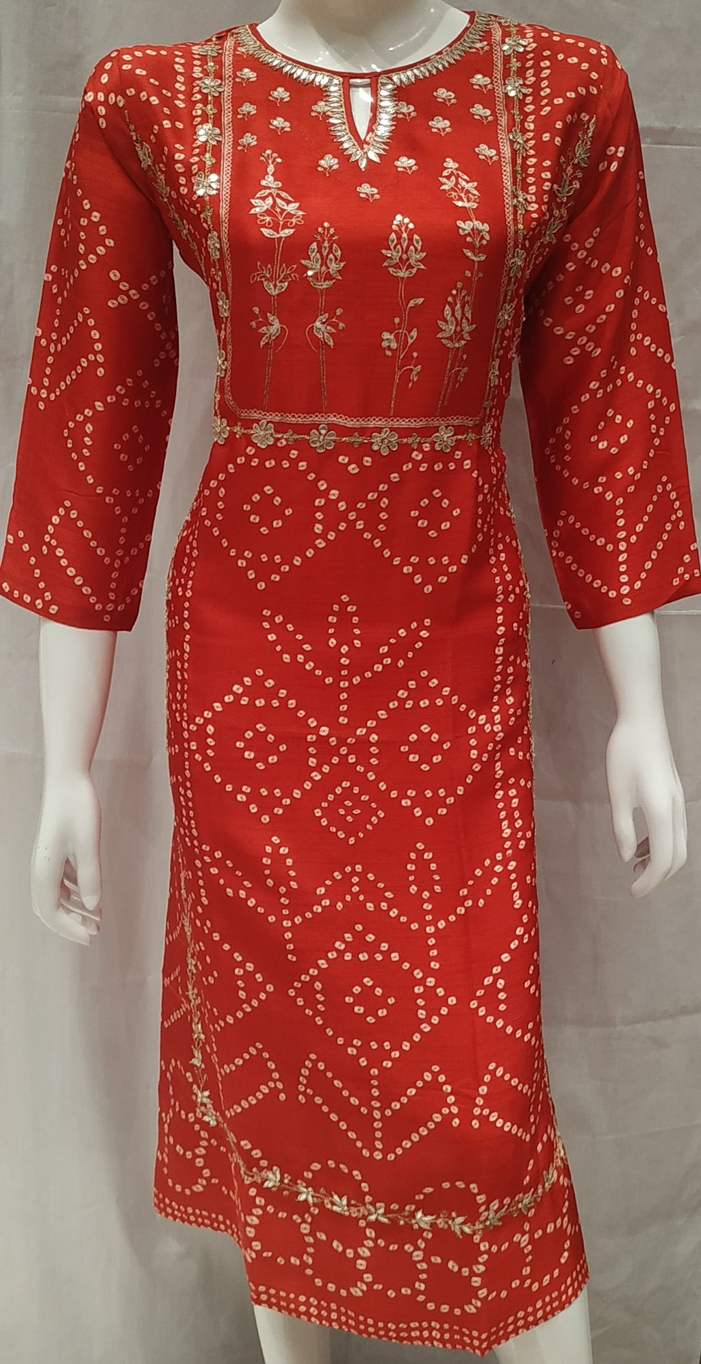 Red Color Pure Tusser Silk Designer Party Wear Kurtis NYF-6626