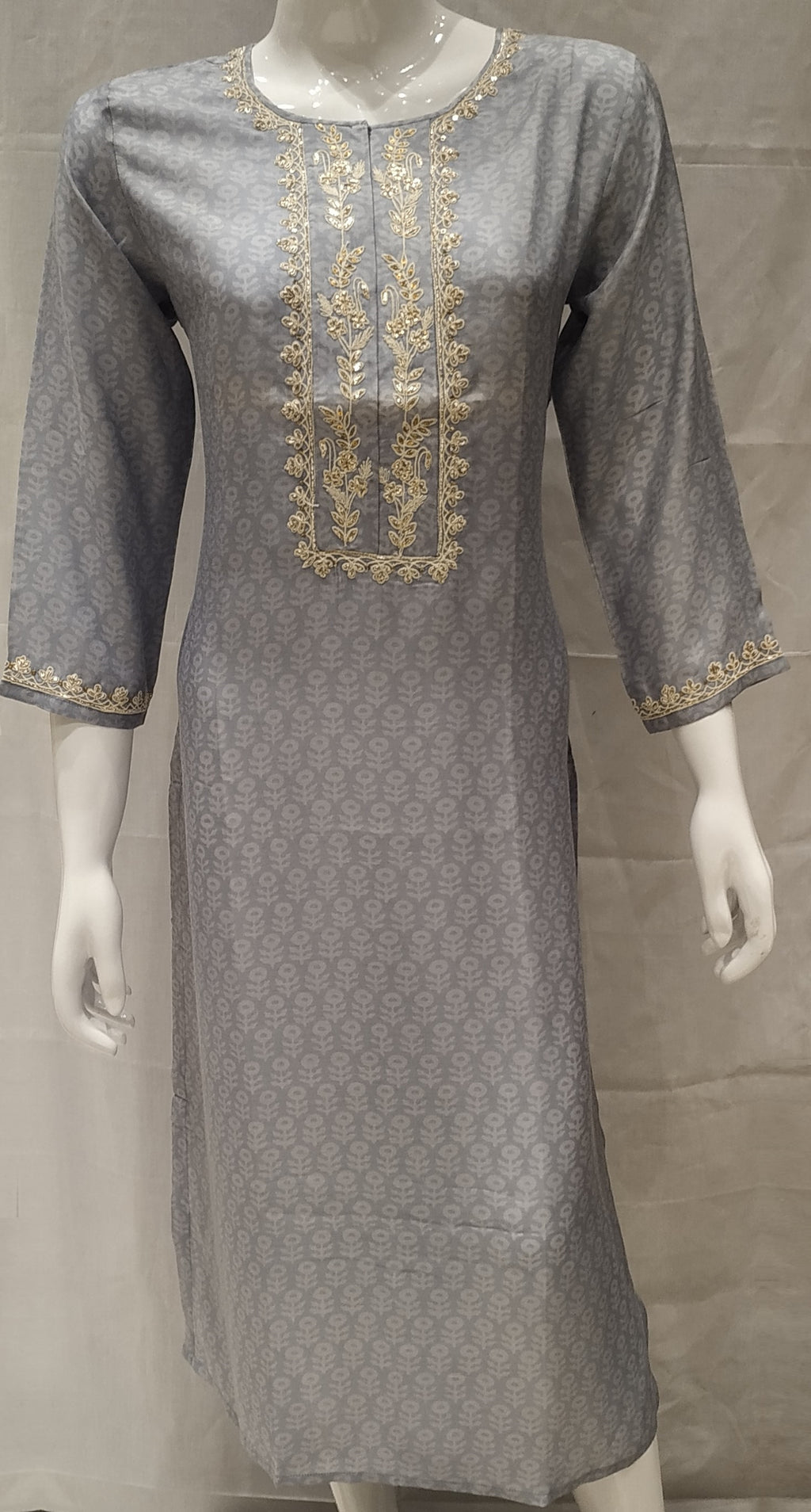 Grey Color Pure Muslin Designer Party Wear Kurtis NYF-6628
