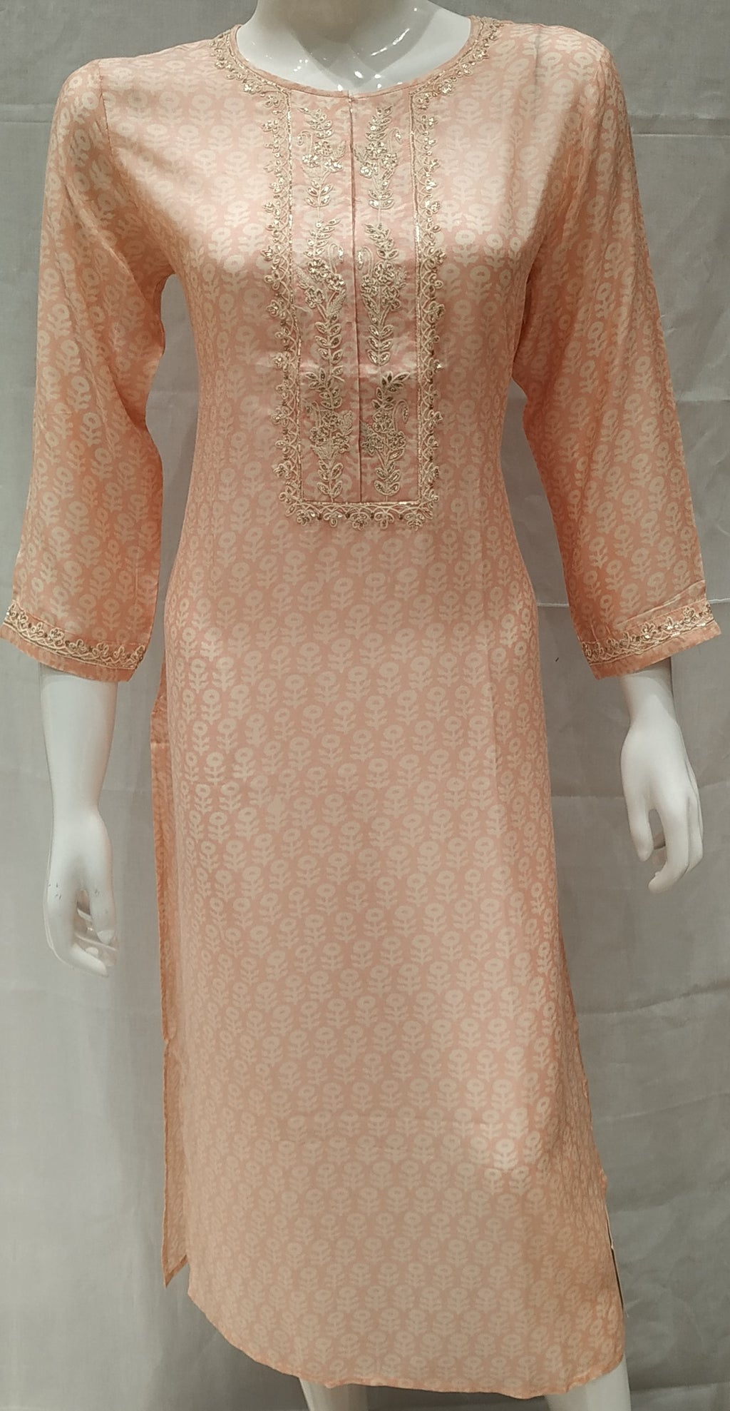 Pink Color Pure Muslin Designer Party Wear Kurtis NYF-6632