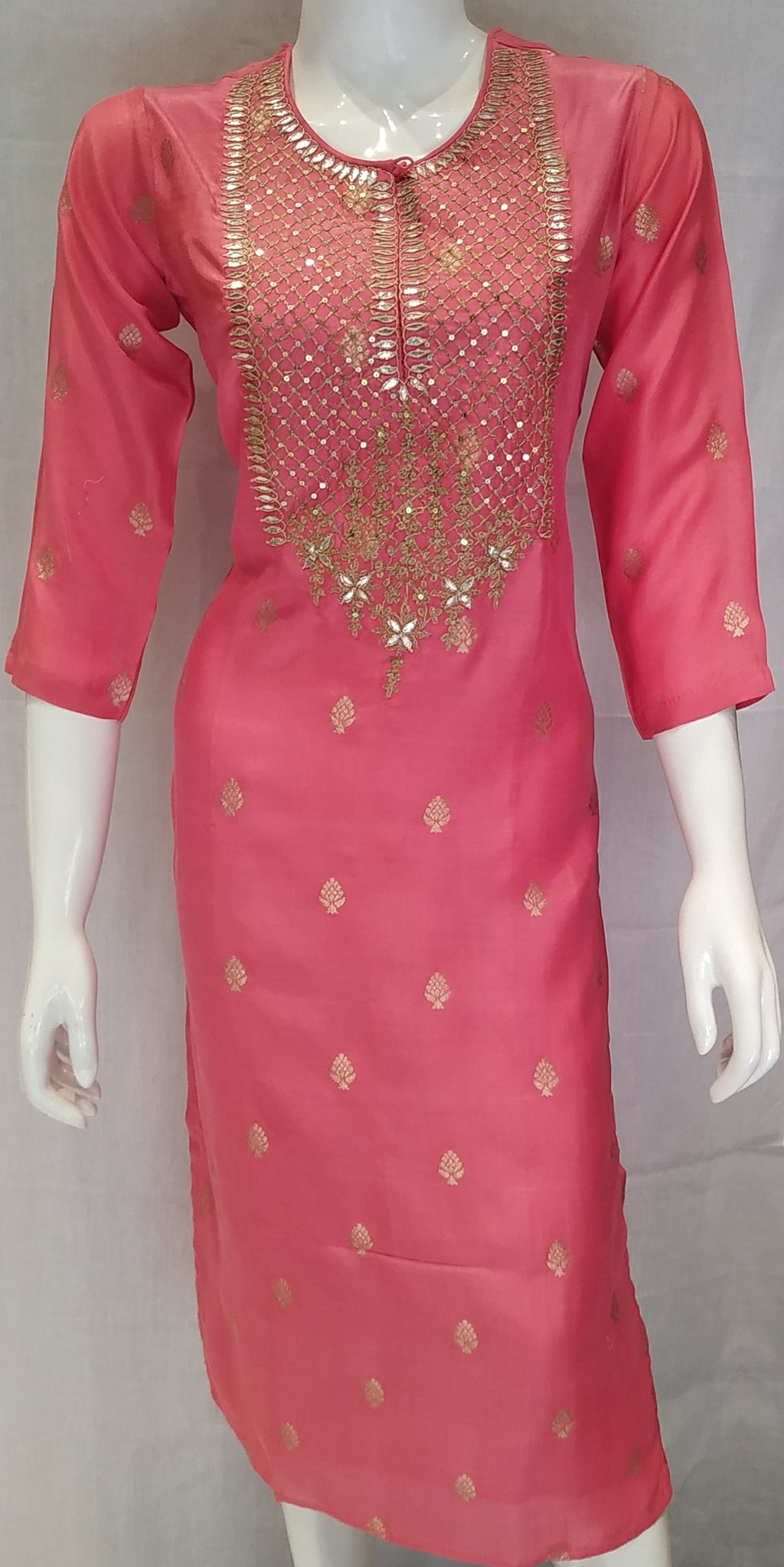 Pink Color Banarasi Silk Designer Party Wear Kurtis NYF-6644