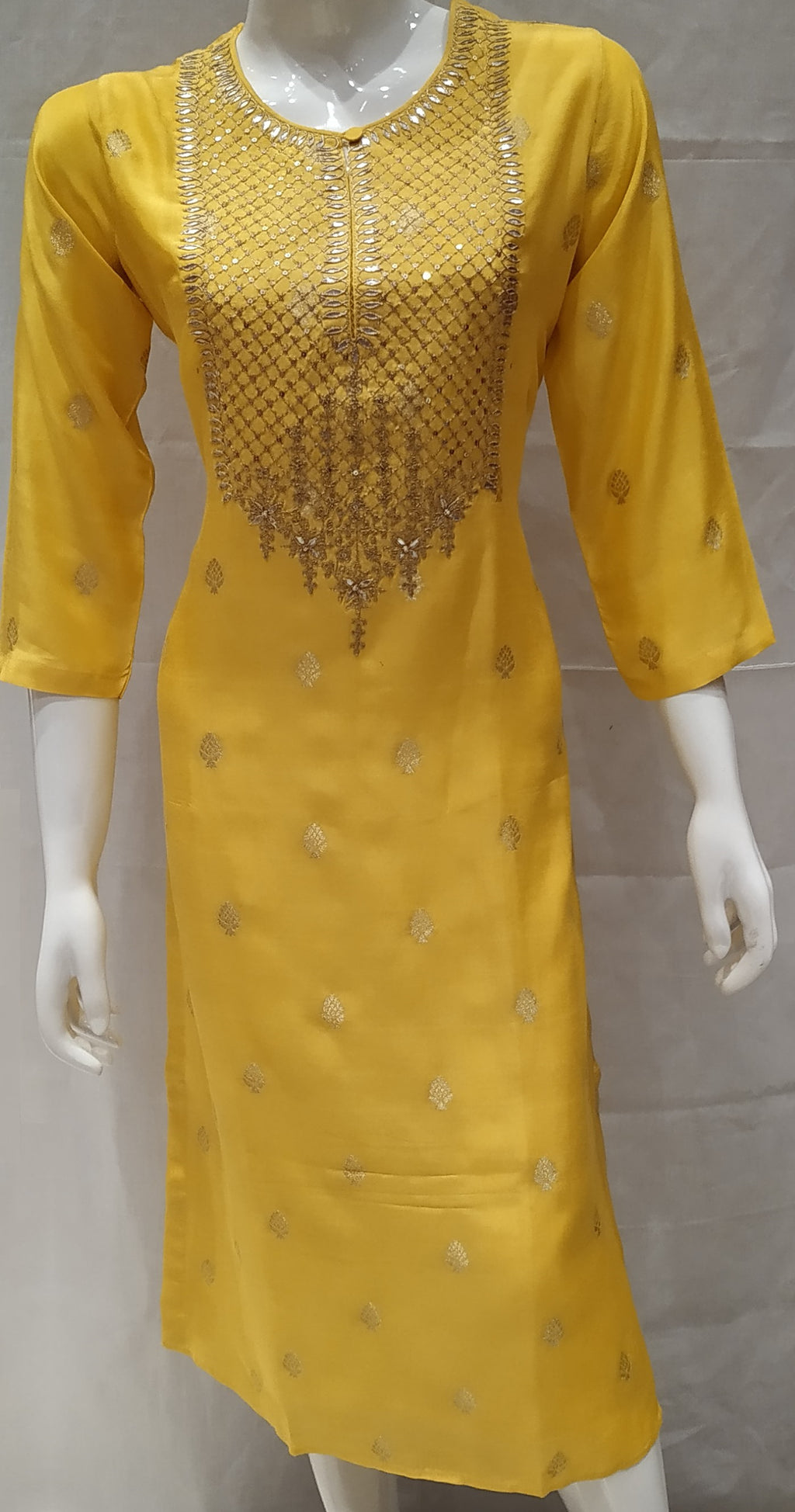 Yellow Color Banarasi Silk Designer Party Wear Kurtis NYF-6648