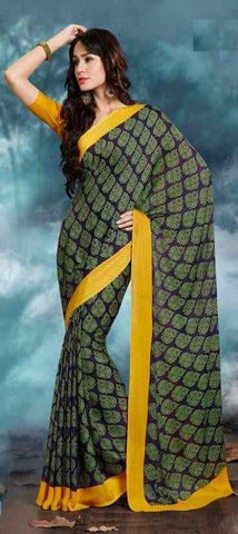 Green and Yellow  Color Crepe Printed Sarees : Chinar Collection  YF-24242