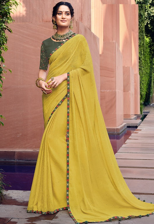 Yellow Color Chiffon Casual Wear Saree -Ladli Bahu  Collection  YF#11274
