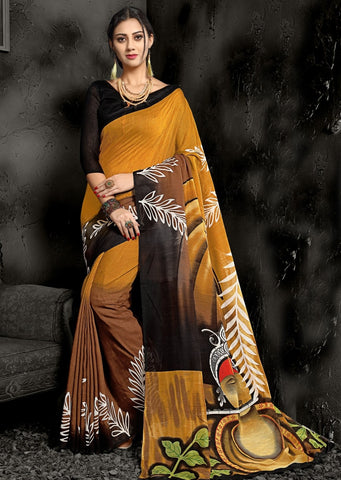 Brown & Mustard Yellow Color Art Cotton Casual Wear Sarees : Swarit Collection YF-67547