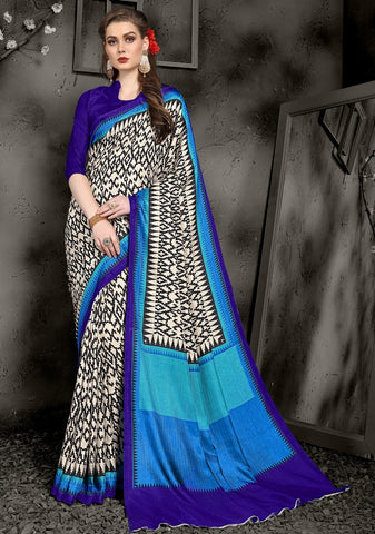 Cream, Black & Blue Color Pashmina Casual Wear Sarees : Swarit Collection YF-67552