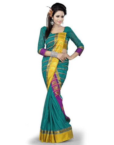 Shades Of Green Color Cotton Office Wear Sarees : Suhasini Collection  YF-29444