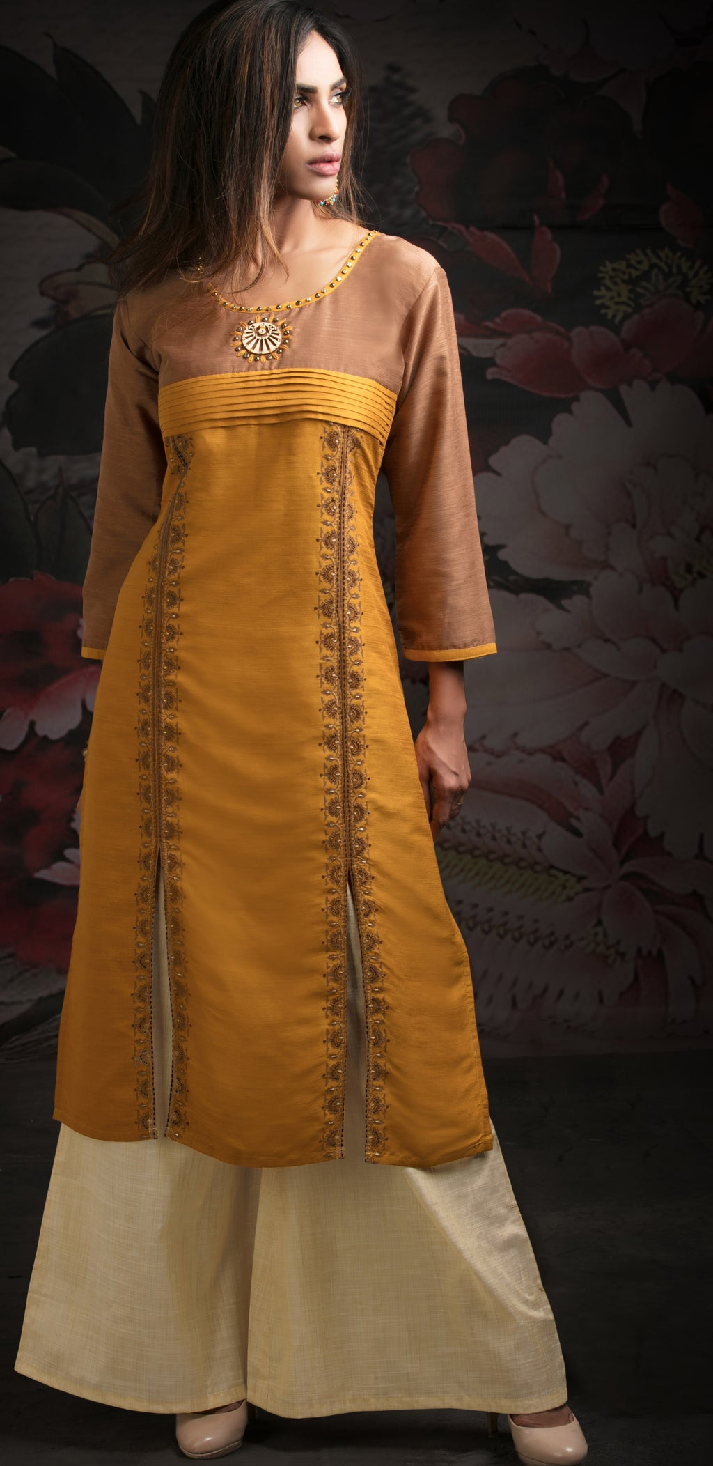 Yellow Color Chanderi Readymade Party Wear Straight Suits NYF-9622