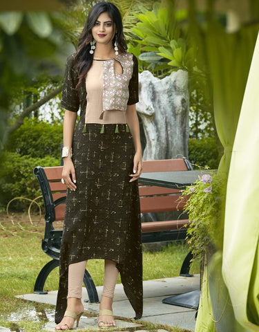 Green Color Rayon Readymade Designer Kurtis : Sanvita Collection YF-69854