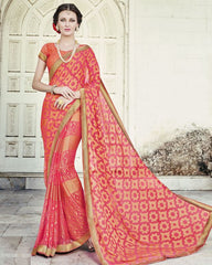 Pink & Orange Color Brasso Party Wear Sarees : Nikira Collection  YF-53407