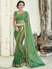 Green Color Brasso Party Wear Sarees : Nikira Collection  YF-53408