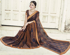 Brown & Blue Color Brasso Party Wear Sarees : Nikira Collection  YF-53409