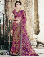 Brown & Pink Color Brasso Party Wear Sarees : Nikira Collection  YF-53410