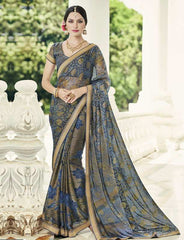 Grey & Blue Color Brasso Party Wear Sarees : Nikira Collection  YF-53411