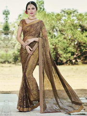 Brown Color Brasso Party Wear Sarees : Nikira Collection  YF-53412