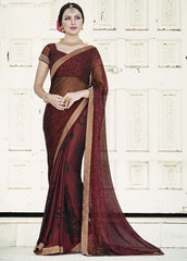 Maroon Color Brasso Party Wear Sarees : Nikira Collection  YF-53414