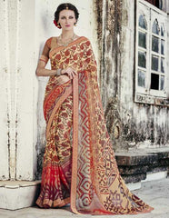 Light Yellow & Orange Color Brasso Party Wear Sarees : Nikira Collection  YF-53415