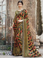 Mehendi Green & Black Color Brasso Party Wear Sarees : Nikira Collection  YF-53416