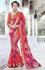 Orange & Pink Color Georgette Casual Party Sarees : Nandisha Collection  YF-55057