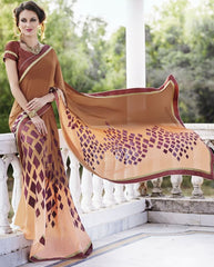 Brown & Peach Color Georgette Casual Party Sarees : Nandisha Collection  YF-55058