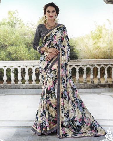 Multi Color Georgette Casual Party Sarees : Nandisha Collection  YF-55059