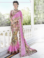 Light Coffee & Pink Color Georgette Casual Party Sarees : Nandisha Collection  YF-55060