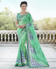 Green Color Georgette Casual Party Sarees : Nandisha Collection  YF-55062