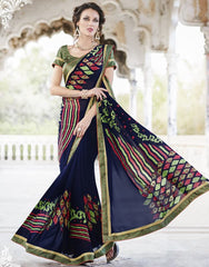 Blue Color Georgette Casual Party Sarees : Nandisha Collection  YF-55063