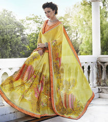 Yellow Color Georgette Casual Party Sarees : Nandisha Collection  YF-55064