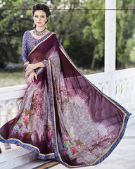 Purple Color Georgette Casual Party Sarees : Nandisha Collection  YF-55065