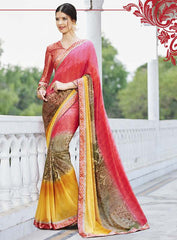 Dark Pink & Yellow Color Georgette Casual Party Sarees : Nandisha Collection  YF-55066