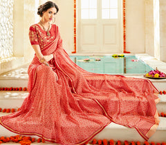 Brick Red Color Georgette Party Wear Sarees : Prakiya Collection  YF-57436