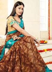 Brown Color Georgette Party Wear Sarees : Prakiya Collection  YF-57449