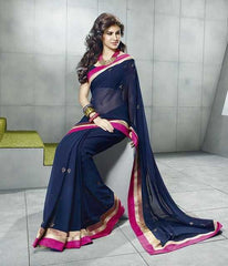 Navy Blue  Colour  Georgette  Material Casual Saree:  Fashionista Collection -  YF-10015