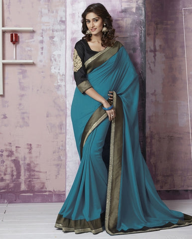 Rama Blue Color Italian Silk Party Wear Sarees : Prunit Collection  YF-37766