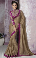 Golden Color Jaquard Crepe Party Wear Sarees : Prunit Collection  YF-37768